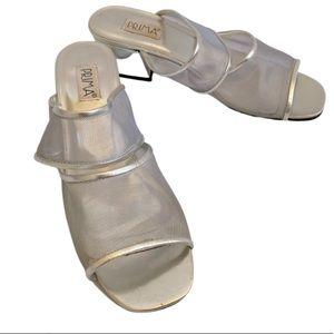 PRIMA KIM METALLIC 2 strap slides shoes block heel